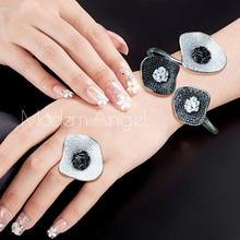 ModemAngel Luxus Lotus Blatt Zirkonia Pflastern Frauen Hochzeit Naija Dubai Partei Engagement Kleid Schmuck Set