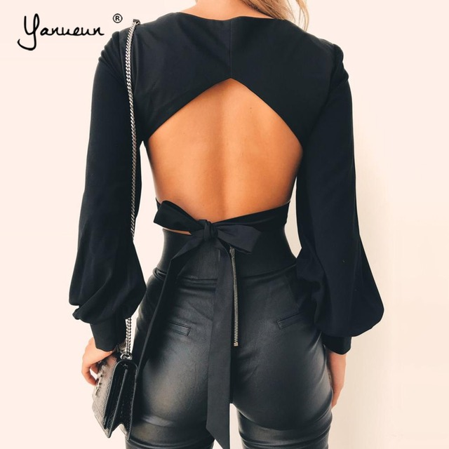 76a8a41c04492 Yanueun 2018 Summer Top Sexy Square Neck Long Lantern Sleeve Tops Lacing Pretty  Backless Tops With Belt Women Clothing