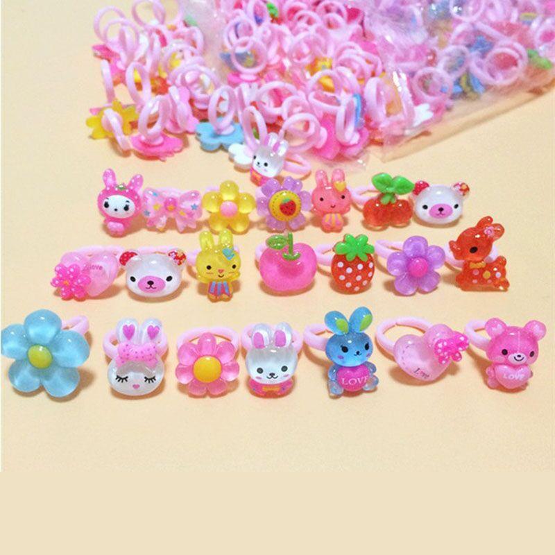 20pcs/set Random Mix Animal Heart Assorted Baby Kids Girl Children's Cartoon Rings For Christmas Gift