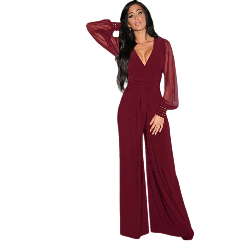 High Cut Bodysuit Long Black Rompers Womens Jumpsuit Party V Neck Embellished Cuffs Mesh Sleeves Loose