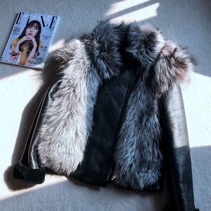 Brand 2019 New Winter Jacket Coat Women Double-faced Fur Coat Sliver Fox Fur Collar Real Leather Jacket Warm Black Wool Liner
