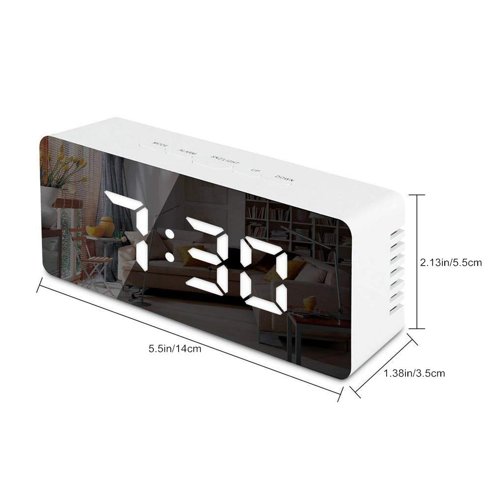 Image 5 - LED Mirror Alarm Clock Digital Snooze Table Clock Wake Up Light Electronic Large Time Temperature Display Home Decoration Clock-in Alarm Clocks from Home & Garden