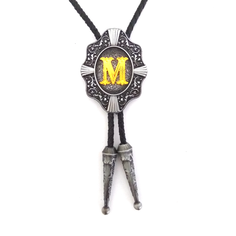 Western cowboy bolo tie for men Black leather metal buckle With Gold Letter M Retail wholesale custom bolo ties