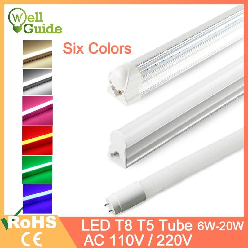 Led Tube T5 LED Integrated Tube T8 LED Light 2835 SMD 6W 10W 20W AC110V 220V 300mm 600mm 1FT 2FT LED Fluorescent Lamp Ampoule