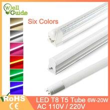Led Tube T5 LED Integrated Tube T8 LED Light 2835 SMD 6W 10W 20W AC110V 220V 300mm 600mm 1FT 2FT LED Fluorescent Lamp Ampoule t8 integrated smd 2835 led tube light fluorescent lamp 18w 22w 4ft 1200mm ac85 265v 110v 220v led tubes