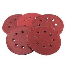 """25 шт./компл. """" 8 отверстий Флокирование шлифование наждачной бумагой диски темно-Красного цвета для бусы из деревянных бусин для полировки"""