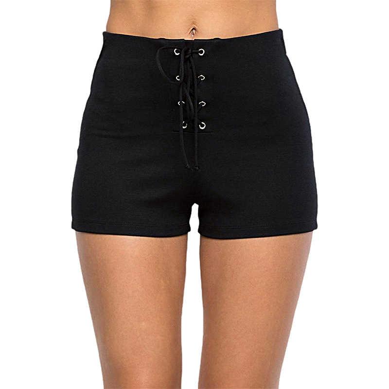 AZUE Женская Сексуальная стяжка бандажные Короткие штаны с высокой талией черные шорты эластичные Повседневные базовые штаны
