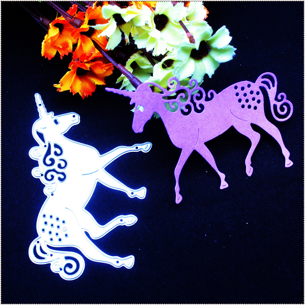1pc Unicorn Horse Metal Cutting Dies Stencil DIY Scrapbooking Photo Album Card Paper Embossing Dekorativt Håndlaget Håndverk