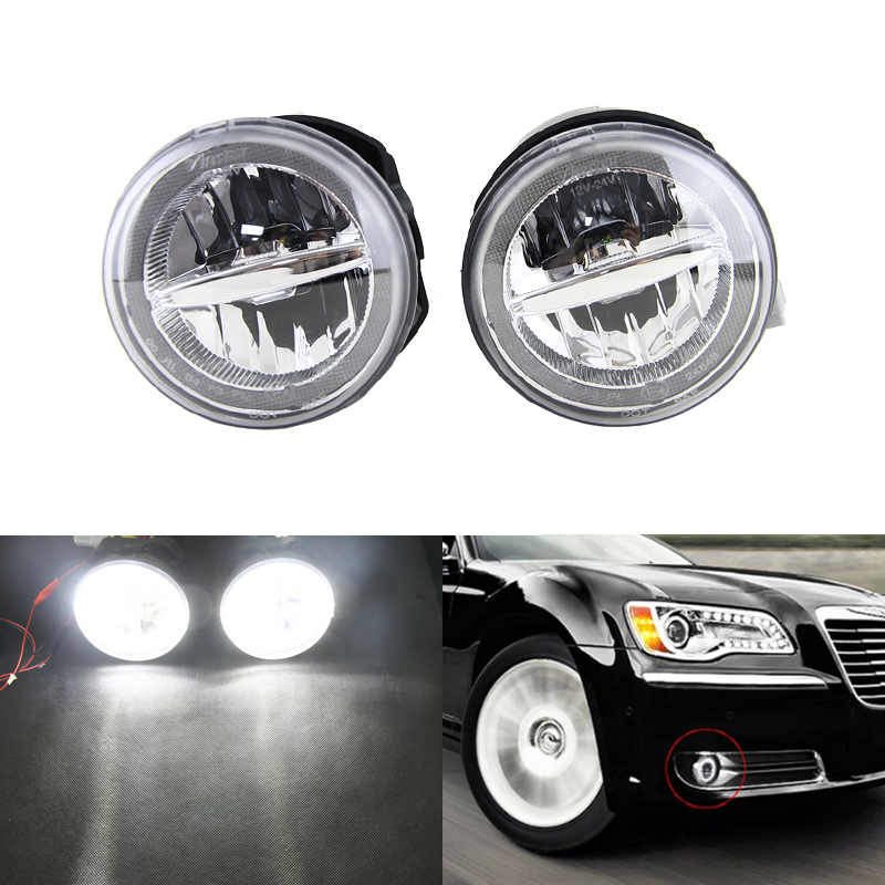 New Led Front Fog Light Kit Assembly W/ White DRL Halo Rings For Chrysler 300 Base C SRT8 Sedan 4-Door Car Styling Auto Lamp alcohol concentration detector of liquor alcohol meter refractometer refractometer 0 80