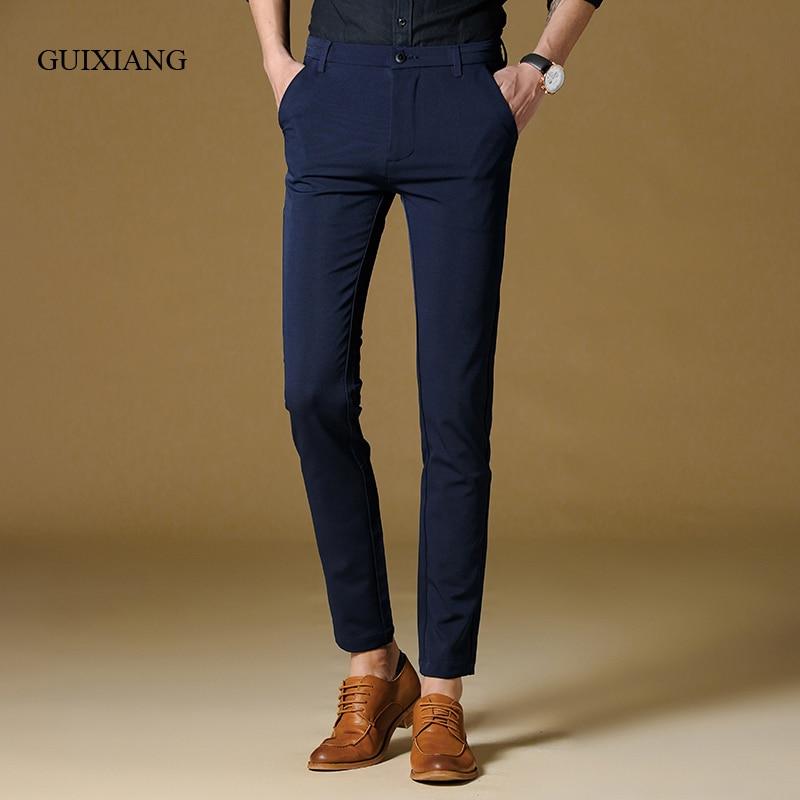 새로운 사계절 패션 스타일 남자 긴 바지 패션 레저 높은 탄성 고품질 남성 단색 캐주얼 바지 크기 28-36