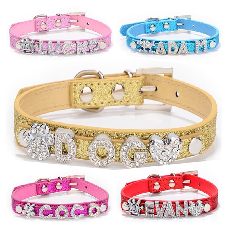 Персонализированные DIY именные ошейники для собак шикарный ошейник для собак с бриллиантовой пряжкой подвески для щенков, кошек, букв для Тедди, французского бульдога