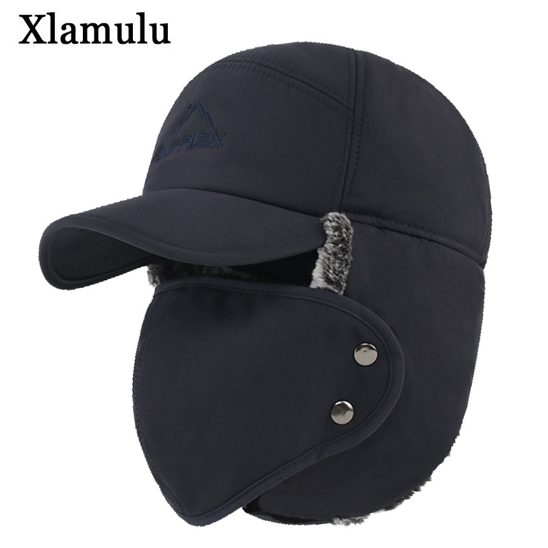 Xlamulu Winter Bomber Hats For Men Fur Warm Thick Balaclava Winter Hats Bomber Earflap Skull Mask Outdoor Sport Male Bomber Hat