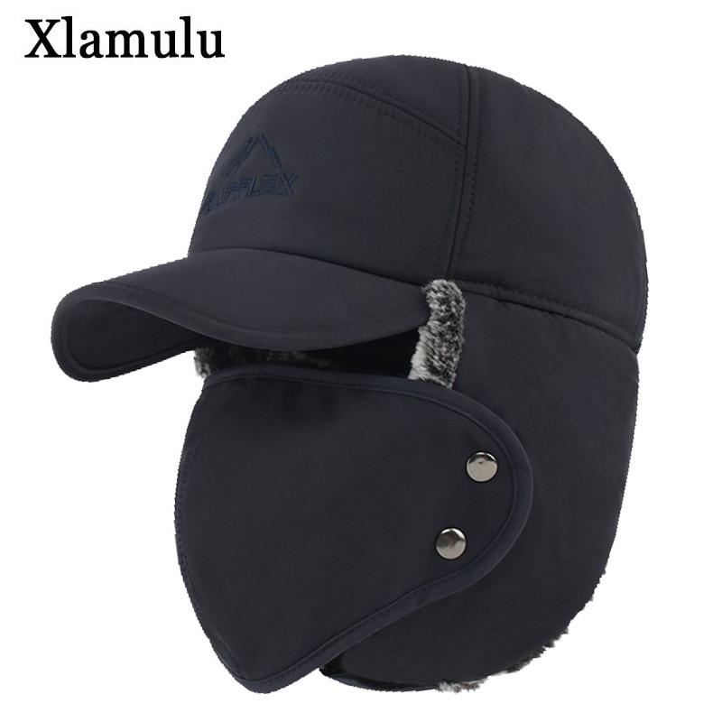 Xlamulu Winter Bomber Hats For Men Fur Warm Thick Balaclava Winter Hats Bomber Earflap Skull Mask Outdoor Sport Male Bomber Hat