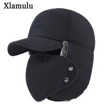 Xlamulu Winter Bomber Hats For Men Fur Warm Thick Balaclava Earflap Skull Mask Outdoor Sport Male Hat