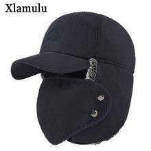 Xlamulu Winter Bomber Hats For Men Fur Warm Thick Balaclava