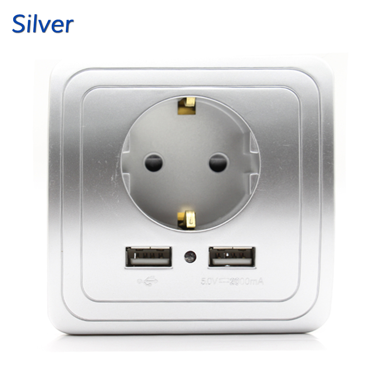 Best Dual USB Port 2000mA Wall Charger Adapter EU Socket With Usb Power Outlet Panel