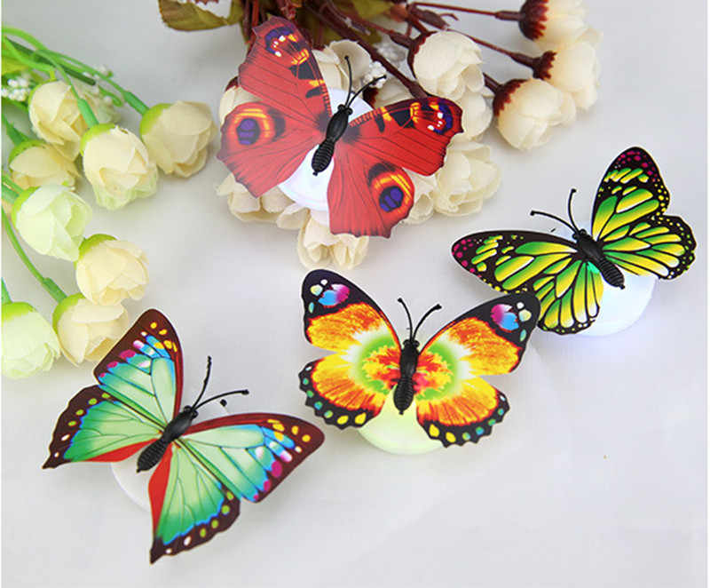 Lámpara de luz de noche 1/2/5/15/20 PC con almohadilla de succión LED mariposa cambiante colorido lámpara de luz nocturna decoración de pared de escritorio para fiesta en casa