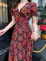 2019 Новое шелковое Сексуальное Женское Платье с v образным вырезом и цветочным принтом, бесплатная доставка