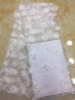 Latest Nigerian Lace Fabric 2019 High Quality African Lace Fabric With Handmade Beaded 3d Embroidery For Wedding Dress white