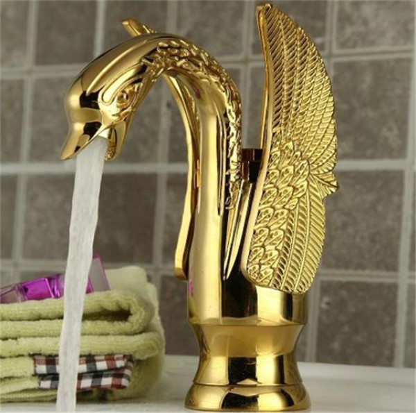 Bathroom Swan Goose Faucet Gold Finish Single Tap Waterfall Sink