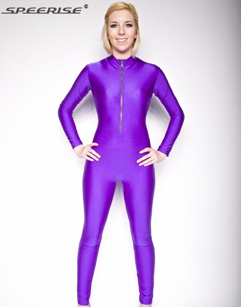 Adulto Zíper Frontal Lycra Unitard Zentai Unitard Spandex Bodysuit Longo Da Luva Das Mulheres Terno Do Corpo Anker Comprimento Macacão Collant Dança