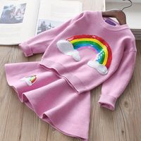 2018 Autumn Winter Children Girls Clothing Set Rainbow Sequin Kids Girls Sweaters+Knited Skirt Outfits Kids Clothing Sets