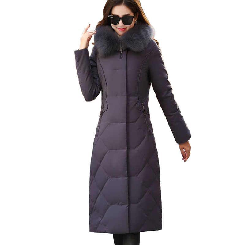 Новый Зимний пуховик женские парки Высокое качество большой меховой воротник с капюшоном пальто плюс размер тонкий женский толстый длинный пуховик 2182