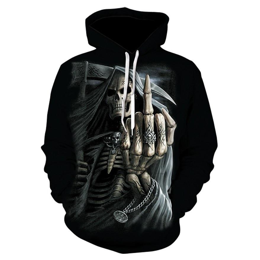 2018 Hot New Skull Men's Hoodie Sweatshirt 3D Printing Funny Hip Hop Hoodie Gothic Skull Hoodie Autumn Jacket Men's Sportswear