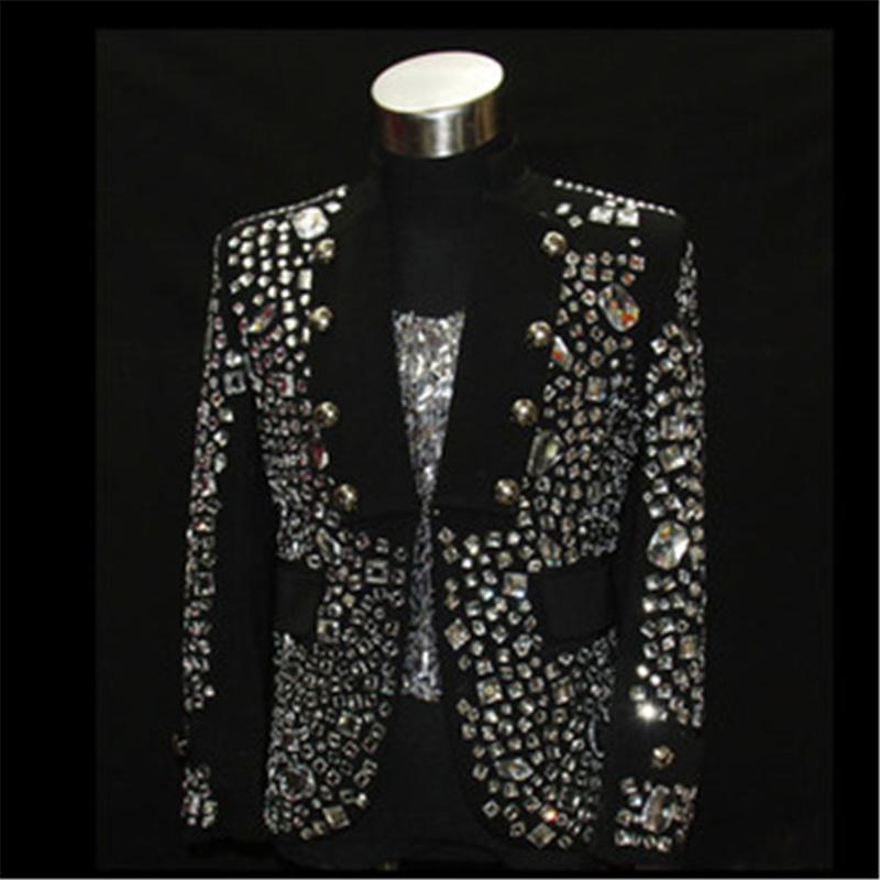 輝くラインストーンステージパフォーマンス摩耗ブラックカラーファッション衣類用社交ナイトクラブトレンディジャケット扮DH 021  グループ上の メンズ服 からの スーツ ジャケット の中 1