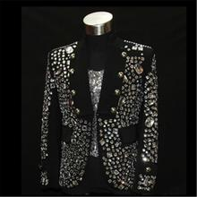 Shining Rhinestone Stage Performance Wear Black Color Fashion Clothing for Ballroom Nightclub Trendy Jacket Outfits DH-021