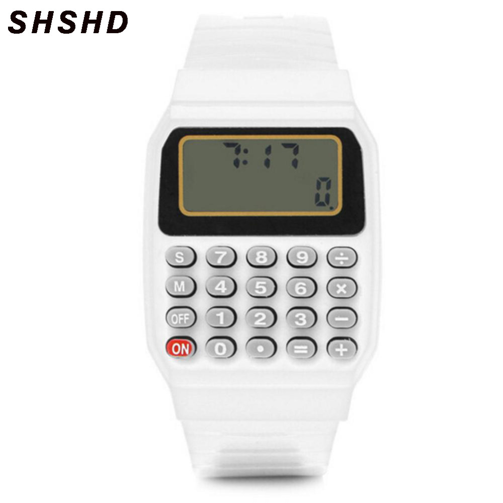 Boy And Girl Children Calculator Watch Live LED Clock Unsex Kid Silicone Multi-Purpose Date Time Electronic Wrist Watch Reloj