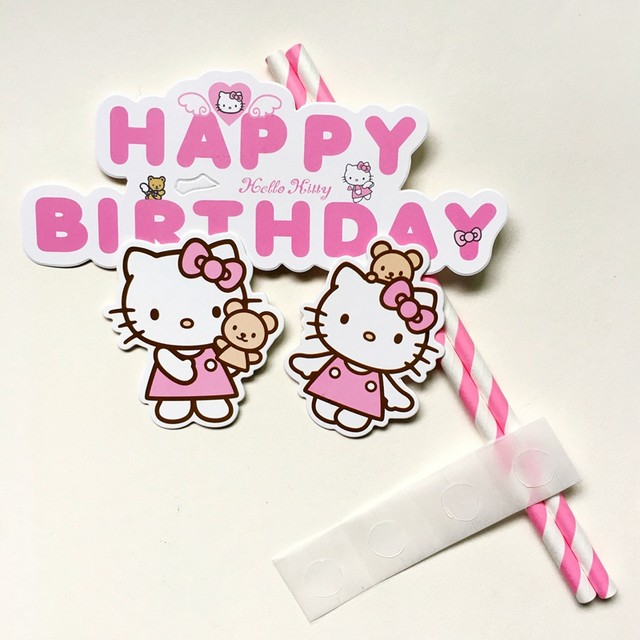 online shop 30 sets pink hello kitty happy birthday cupcake cake