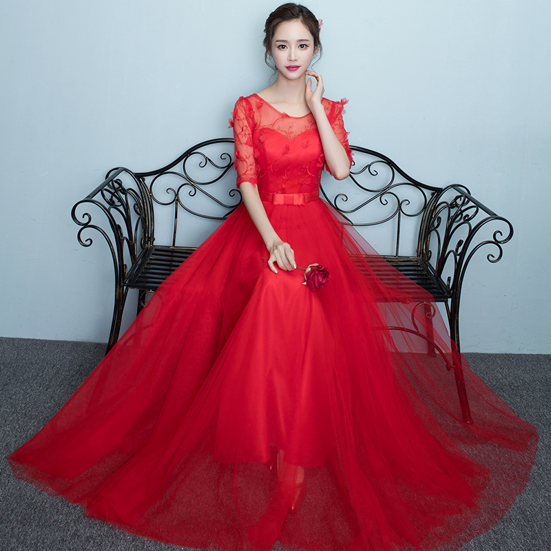 2017 new   Bridesmaid     Dresses   plus size stock cheap red long princess chiffon sexy romantic sister simple elegant fashion JYX843CH