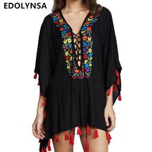 0ca75cc3f Indie Folk Sexy de encaje con cuello en V profundo de manga murciélago  borla negro Mini vestido de verano 2019 Playa de las muje.