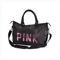 Gym bag one shoulder sport bag portable female pink sequin handbag sports fitness bag