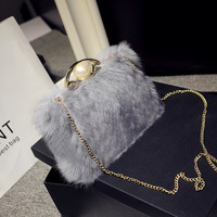 Women Shoulder Bag New Fashion Fur Rabbit Hair Pearl Chains Bag Female Lady Top handle Day Clutches Crossbody Messenger Package