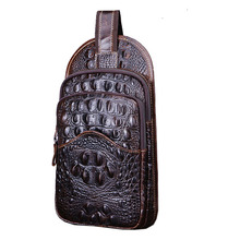 Men Vintage Genuine Leather Crocodile Grain Sling Pack Chest Bag Cross Body Messenger Shoulder Pouch Packet Travel Riding Bags