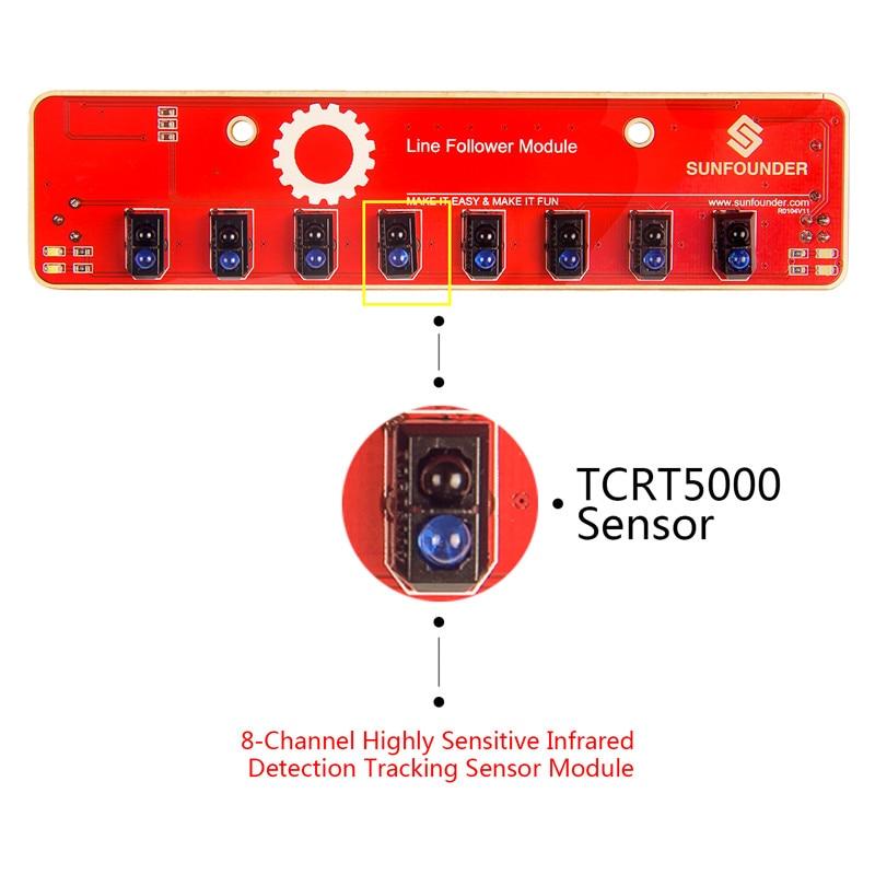 SunFounder IIC I2C Line Follower Module 8 Channel Infrared IR Detection Tracking Sensor for Arduino Smart Car MCU STM8S105C4