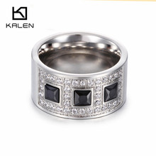 Kalen Women Fashion Titanium Rings Silver Color Zircon Rhinestone Austria Trendy Rings For Party Wedding Engagement Cheap Gifts