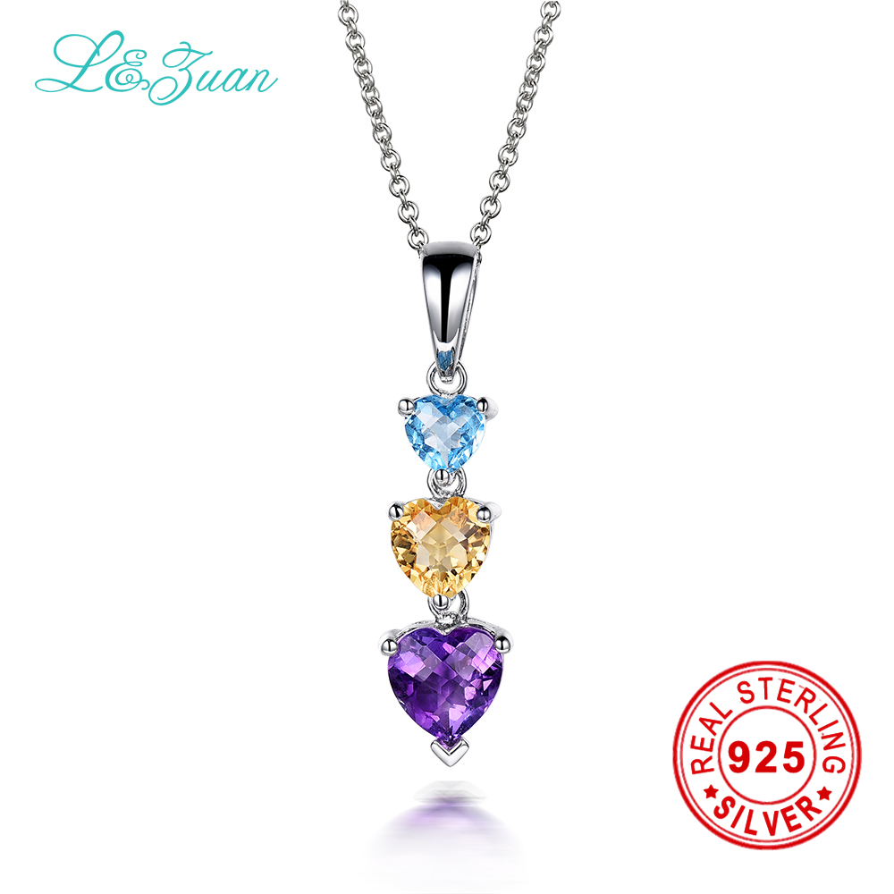 l&zuan 925 sterling silver natural 0.74ct Amethyst purple stone Necklace & Pendant for women gift цена и фото