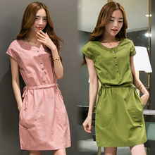 Мини-платье 2019 Лето Новая корейская версия Повседневная хлопок и лен короткое платье сплошного A-L Лучший!