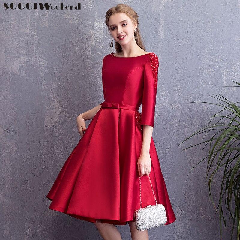 SOCCI Weekend Elegant Satin   Evening     Dresses   2019 New Half sleeves Formal Wedding Party   Dress   Burgundy Prom Gowns Robe for Bride