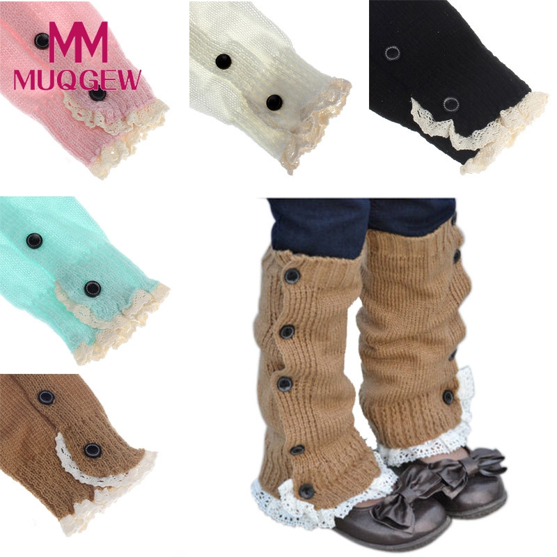 2016 winter Kids Girl Crochet Knitted Lace Boot Cuffs Toppers Leg Warmer Outside leggings children's baby leg warmer cotton