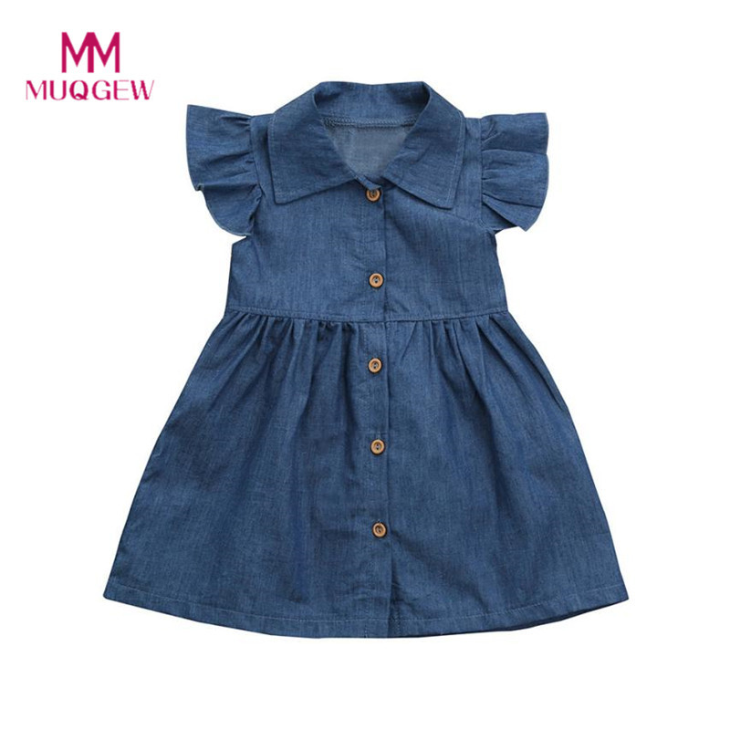 Cute Toddler Infant Baby Girls Dress Solid Princess Denim Dresses Children Clothing 2018 Kids Summer Dresses Outfits Clothes girls dress summer 2017 denim dresses for girls infant strap children clothing princess sundress fashion design kids clothes