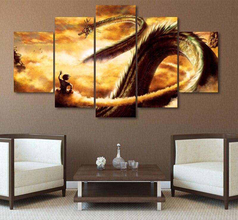 Cadre 5 Pièce HD Impression Grand Dragon Ball Z Cuadros paysage Toile D'art de Mur Décoration Pour Salon Toile peinture