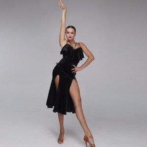 Image 5 - ชุดเต้นรำละตินผู้หญิงละตินสไตล์ samba เครื่องแต่งกาย Salsa ชุด Latin ปฏิบัติสวมใส่ชุดเต้นรำสีดำกำมะหยี่เต้นรำสวมใส่
