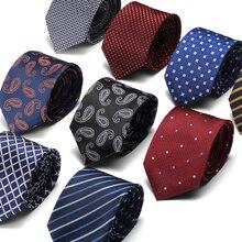 2019 new design Hot Sale business Tie Classic Gravata Men Plaid Pink light blue Formal Wedding Party Necktie 7.5cm Slim tie