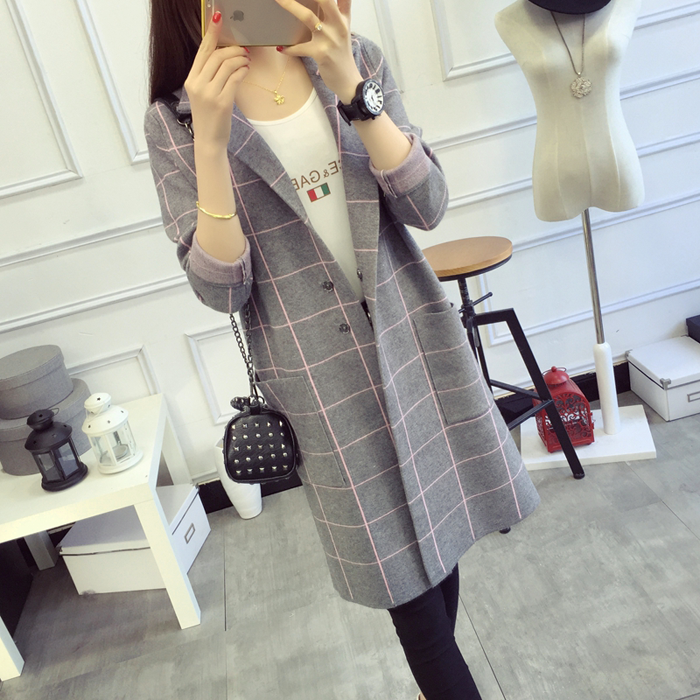 Autumn Women Casual Cardigans Turn Down Collar Long Sleeve Sweaters Female Tricot Knitted Jacket Lattice Outwear Winter Coats
