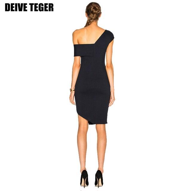DEIVE TEGER    Sexy Women Club Clothing Pencil Dress Bandage sexy Dress one shoulder black slit dress vestidos HL2254
