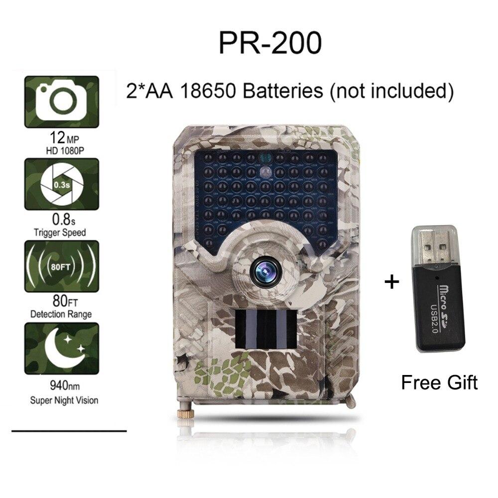 Suntekcam PR-200 caméra de sentier 12MP 49 pièces 940nm IR LED caméra de chasse IP56 étanche 18650 batterie caméra sauvage Vision nocturne